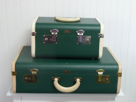 RESERVED Set of Two Vintage Emerald Green Suitcases, Train Case, Suitcase, Luggage Set, Horn Brand