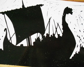 Beowulf Ship Silhouette Postcard- Black and White Linocut