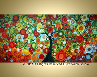 Glossy Limited Edition Hand Embellished APPLE TREE HARVEST Whimsical Landscape on Large Canvas 48x24 by Luiza VIzoli