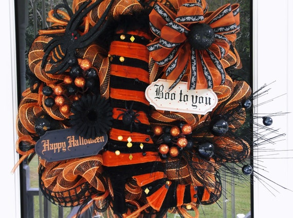 SALE Witch Deco Mesh Wreath