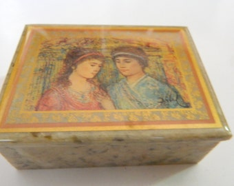 Picasso Vintage Jewelry box  pill box trinket box ring box on Marble with exquisite Picasso drawing of Romeo an Juliette