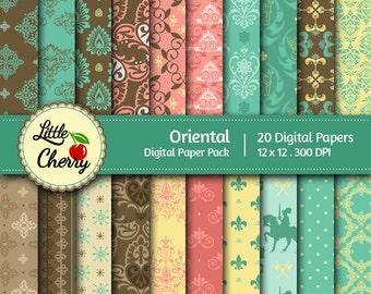 Oriental- 20 printable Digital Scrapbooking papers - 12 x12 - 300 DPI