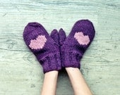 Winter purple gloves with heart pink mittens