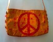 peace sign tyvek Hand BEADED purse