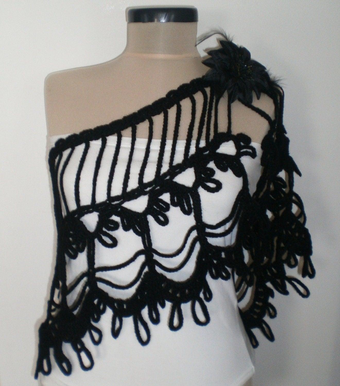ON SALE BLACK Crochet Shrug Bolero Crochet Scarf by CROCHETTT Crochet Scarf For Sale