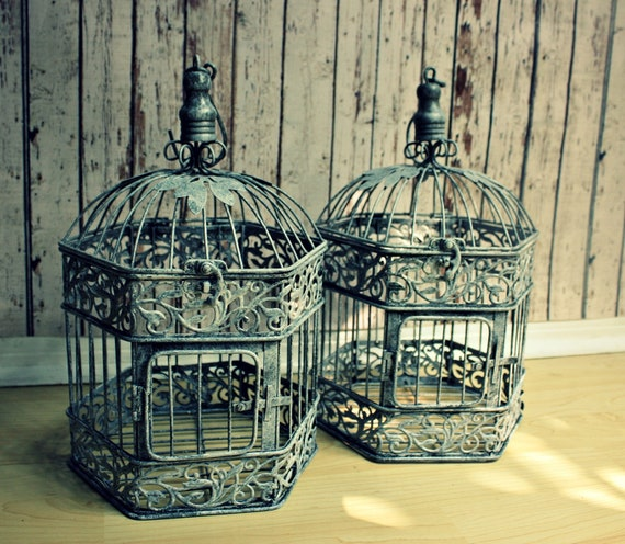 "Set of Two14"" Tall Bird Cage Wedding Card Holders- Bird Cage-Vintage Bird Cages"