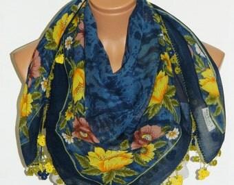 Multicolor Turkish Yemeni OYA Scarf ..bridal,scarf,authentic, romantic, elegant, fashion,
