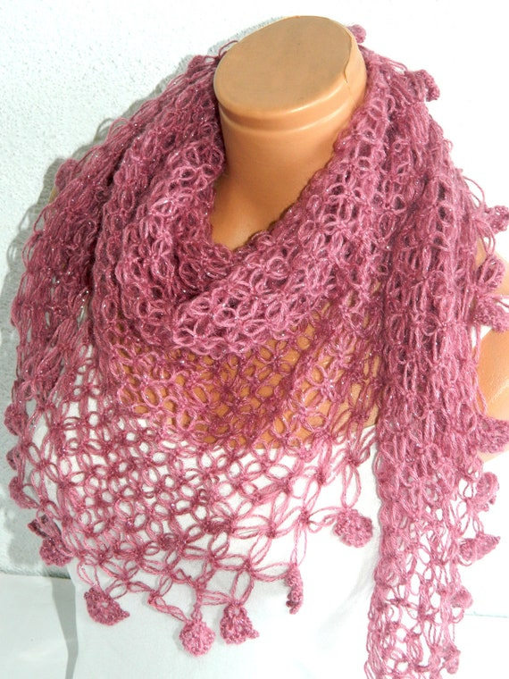 Knitting Patterns Ladies Scarf : Items similar to 2014 trends scarf, hand knit pink scarf, women scarves. Pers...