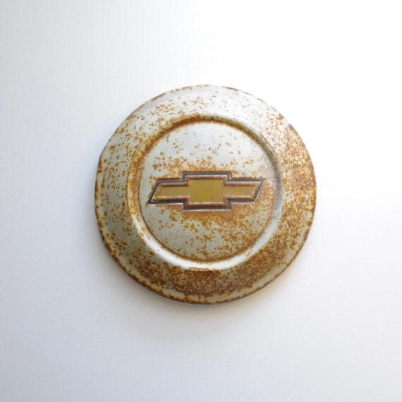 Chevy Hubcap - Vintage Aged Classic - White, Gold, With Some Rust - Automotive - Man Cave