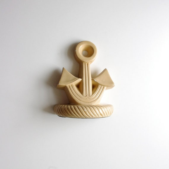 Vintage Ship Anchor Bookend (one) - 1960's - Beige Taupe Tan Khaki - Nautical Theme - Shark Week