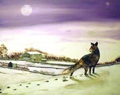 Fox looking for Christmas Dinner -  Greeting card