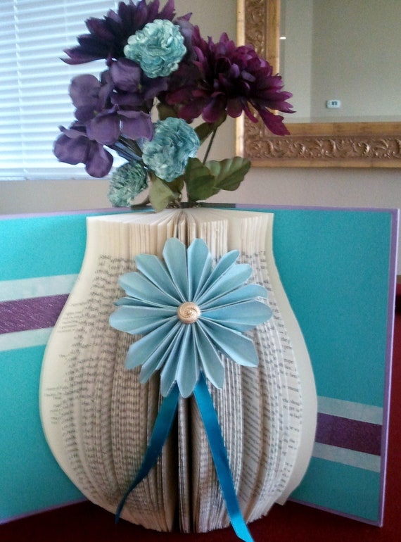 Items Similar To Altered Book Flower Vase On Etsy