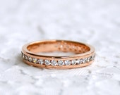 Channel Setting Ring - 925 Sterling silver ring with pink gold plated