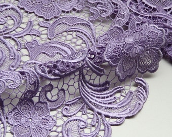 Lavender Lace Fabric Crocheted Gowns Fabric Embroidered Flowers Hollowed Florals Wedding Lace Fabrics Embroidery Fabrics Elegant
