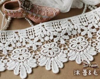 off White Cotton Lace Trim Bridal Victoria Lace Fabric Supplies Vintage Embroidery Lace Supplies