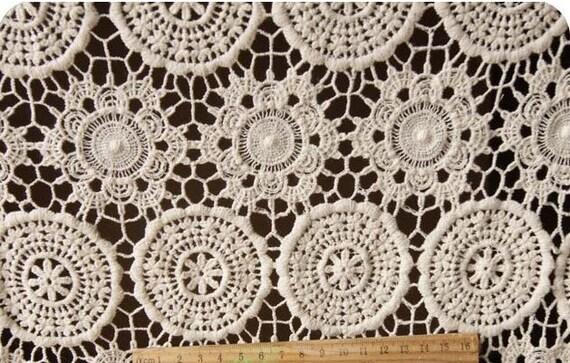 Ecru Cotton Lace Fabrics ,cotton guipure lace fabric, cotto Crocheted lace