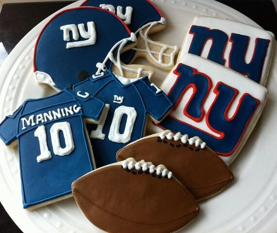 New York Giants Football Decorated Cookies- jersey, helmet, football, team logo
