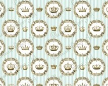 Light Blue Crowns - Vintage Round Frames - Stripy Digital Paper - Scrapbook - Queen - King - Printable Paper - Blossom Paper Art - 1235
