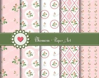 Digital Paper, Pink Flowers Digital Paper Pack, Baby Girl, Scrapbooking, Decoupage - Collage Sheet - Digital Paper - Printable - 1001