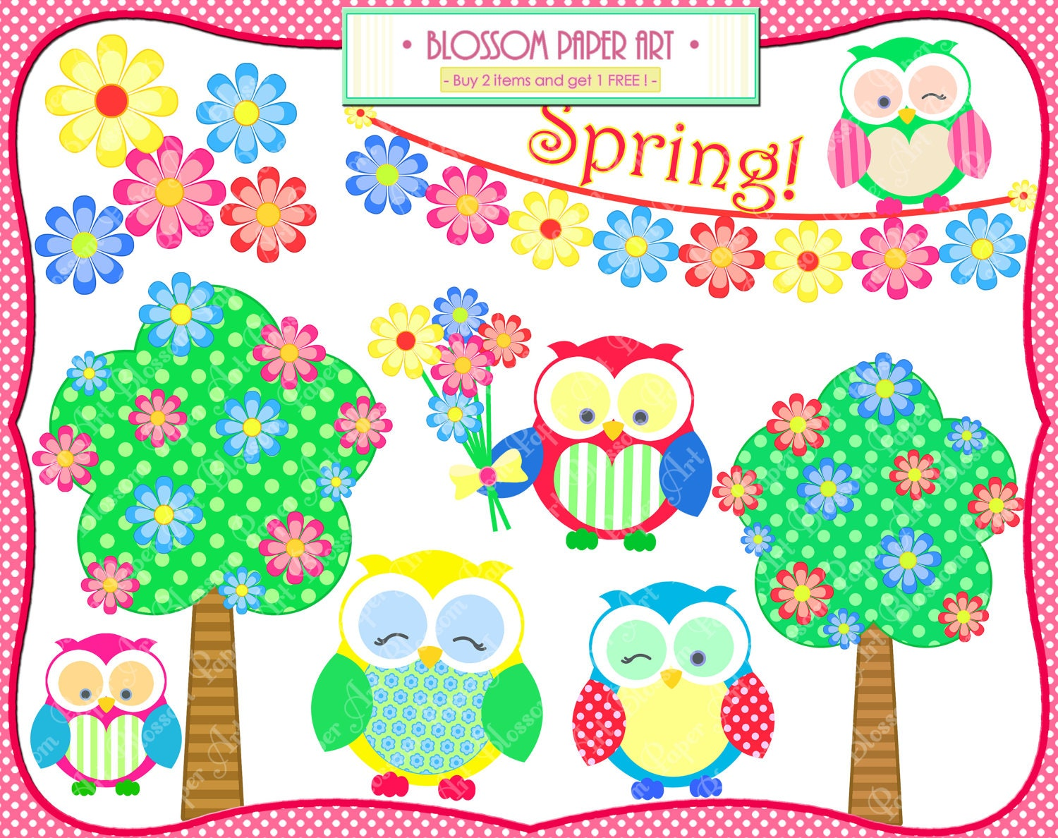Owls Spring Clipart Flowers Trees Bunting Printables