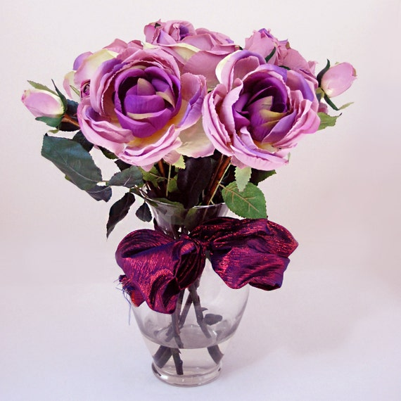Silk Purple English Rose Arrangement In Glass Vase For