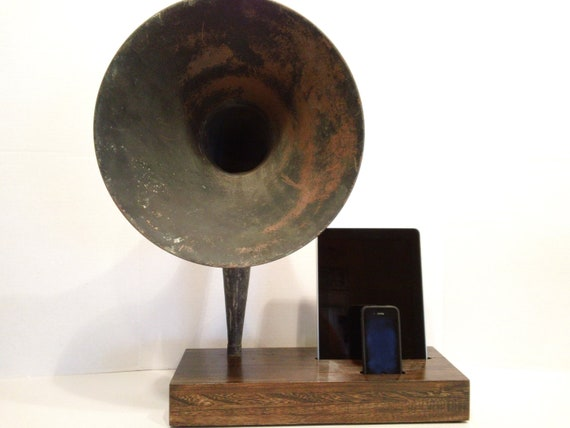 Acoustic  iPad iPhone Speaker Dock Utilizing a Vintage Antique Straight Neck Gramophone  Horn -Made to Order-
