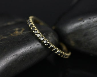 Mohma 14kt Yellow Gold Scalloped Black Diamond FULL Eternity Band (Other Metals and Stone Options Available)