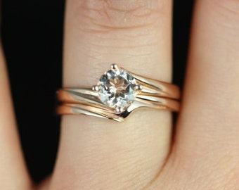 Souffle 6mm 14kt Rose Gold Round Morganite Single Twist Kite Solitaire Wedding Set (Other metals and stone options available)