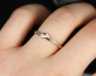 Rosados Box 14kt Rose Gold Matching Band to Souffle Plain Curved Band