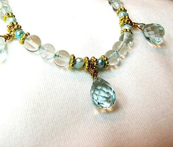 Aquamarine necklace Gemstone necklace Aqua pearl necklace Gold beaded necklace Gemstone jewelry Pearl jewelry  Delicate beaded jewelry