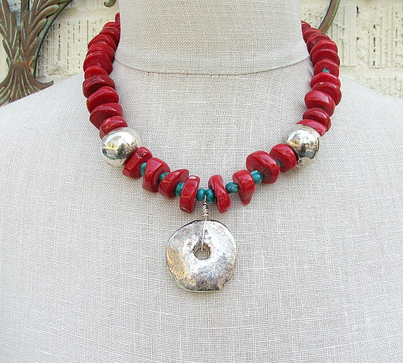 Chunky red coral statement necklace Bold silver pendant necklace Turquoise beaded necklace Coral jewelry Beaded jewelry