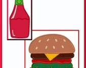 Hamburger On Bun With Ketchup Bottle Set Of Two Applique Designs For Embroidery Machines-Instant Download
