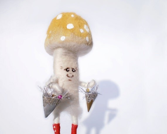 Lady Mushroom with yellow mustard hat and red boots - needle felted - acrylic accents