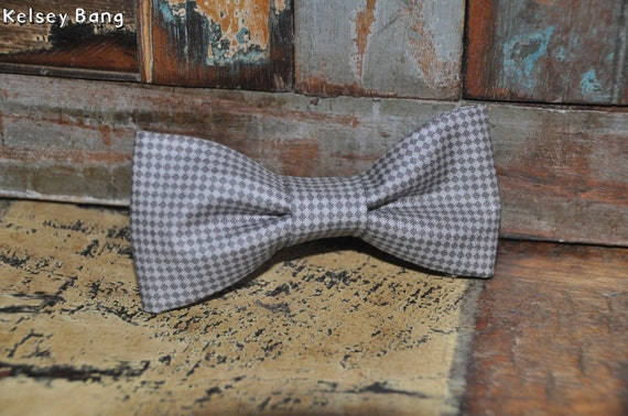adult easy clip on bow tie - black and gray mini checkers