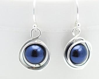 Pearl Earrings   Navy Blue Swarovski Pearl Earrings   Wire Wrapped Earrings   Birds Nest Earrings   Ships in ONE Day