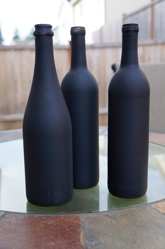 Set Of 3 Chalkboard Painted Wine Bottles For Wedding Table