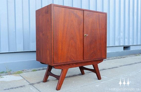 Danish Modern Low Teak Mid Century Bar Cabinet