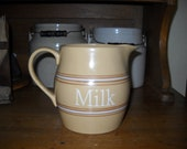 Over and Back Pottery Reproduction Yellowware Milk Pitcher