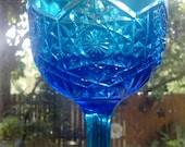 Vintage Large Cobalt Blue Glass Compote Candy Chalice