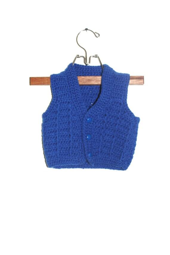 Vintage Baby Boy Blue Knit Vest