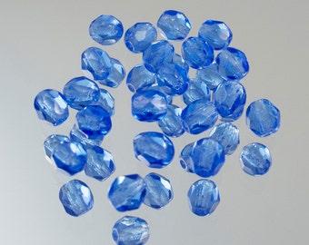 4mm Sapphire Czech Fire Polish Bead 50 Beads #339-39