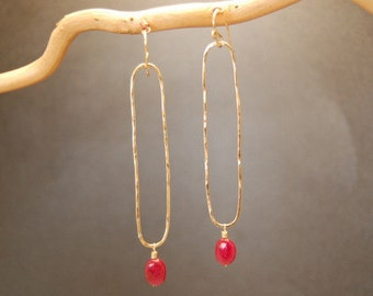 Hammered drop earrings with pink ruby Nouveau 163
