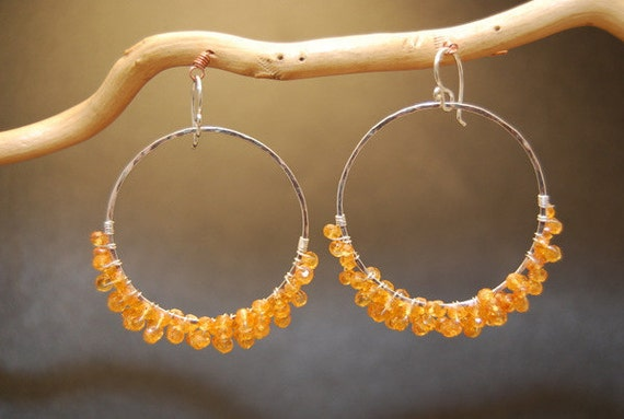Large hoops wrapped choice of gemstones Sahara 72