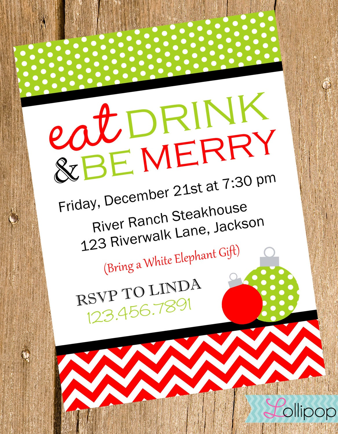 ... Holiday Christmas Party Invite, DIY Christmas Party Invitation on Etsy: www.etsy.com/listing/110262024/eat-drink-and-be-merry-christmas