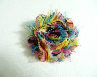 Shabby Chic Flower, Rainbow Striped Hair Clip, Baby Bow, Baby Girl Headband, Newborn Headband.