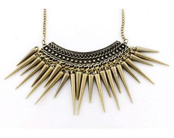 Vintage Feel Gold-tone Bullets Plate Drops Pendant Necklace
