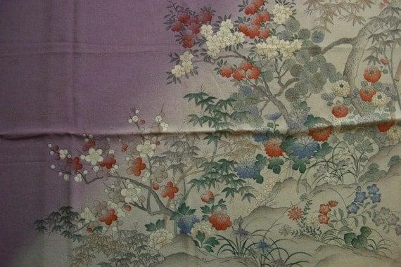 Silk chirimen wrapping cloth, vintage Japanese furoshiki, eco gift wrapping cloth