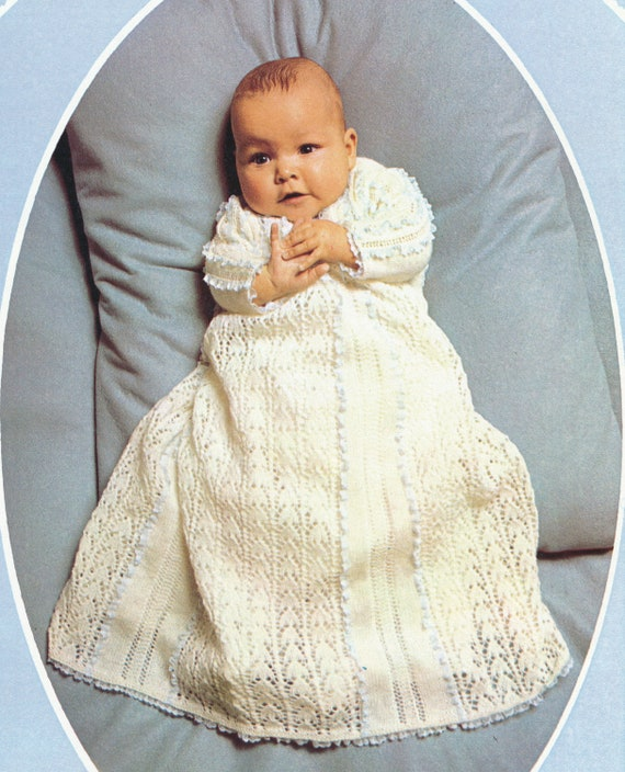 Gorgeous Vintage Delicate Lace Baby / Infant CHRISTENING GOWN Knitting Pattern - PDF Tutorial Instant Download