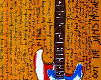 Wayne Kramer Fender Stratocaster MC5 electric guitar art print. 11x17