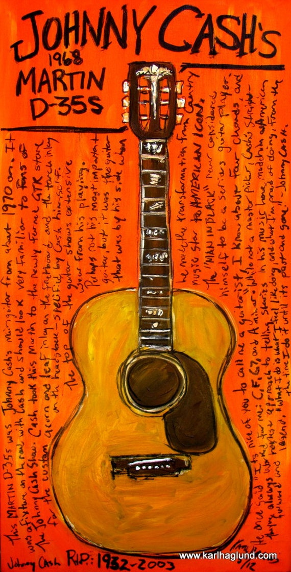 items similar to johnny cash martin acoustic guitar art print on etsy. Black Bedroom Furniture Sets. Home Design Ideas